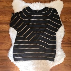 A Pea in the Pod Navy & Tan Striped Sweater